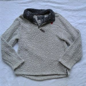 True Grit Pullover Fleece 1/4 Zip Cream Elephant L